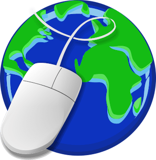An image of a computer mouse with its cord wrapped around the world